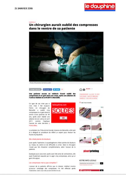 Avocat en droit médical dans la presse suite à une erreur d'un chirurgien